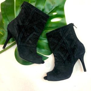 Zara Suede Cut Out Open Toe Booties Black Size 6